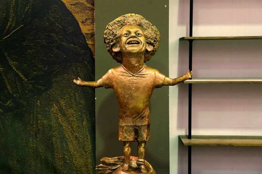 A statue of Mohamed Salah displayed at the World Youth Forum in Sharm El Sheikh.