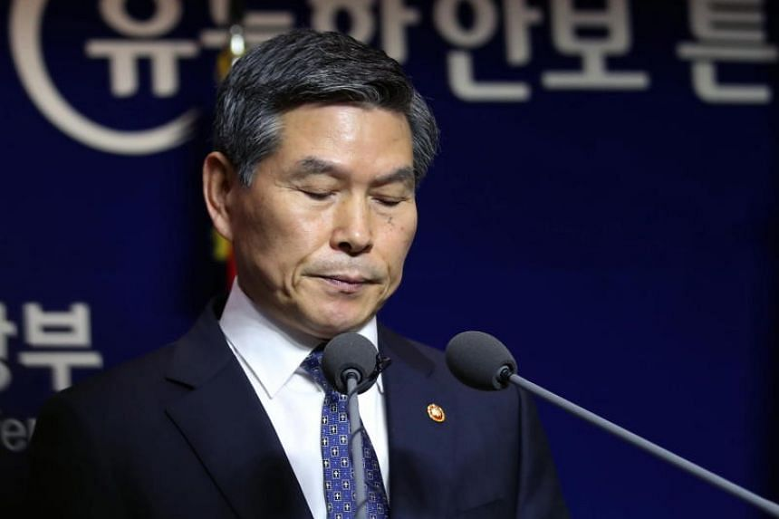 South Korean Defence Minister Jeong Kyeong-doo reading a statement in Seoul, apologising for sexual assaults by troops during their crackdown on 1980 democratisation movement in the city of Gwangju, on Nov 7, 2018.
