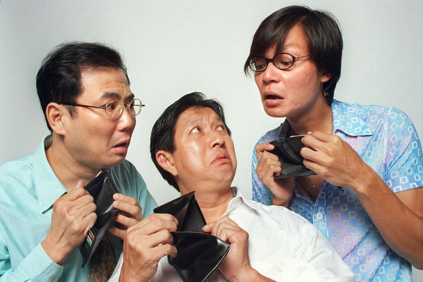 (From left) Actors Jack Neo, Henry Thia and Mark Lee, co-stars of Money No Enough, in a 1998 photograph. The film, which made $5.8 million at the box office here, was released that same year.