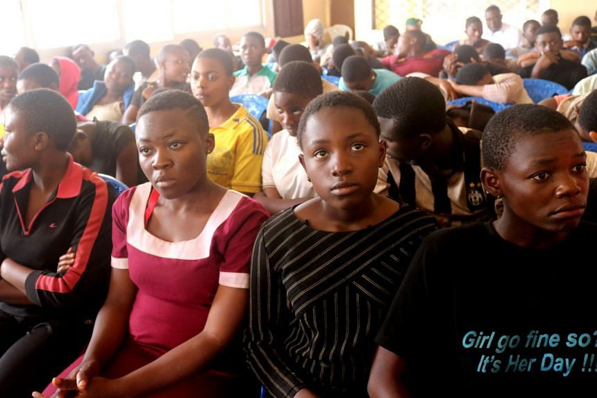 The children are pictured after they were released, at a governor's office in Bamenda, Cameroon.