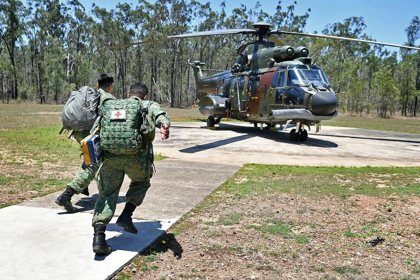 When a helicopter evacuation is called for, a medical officer and a medic will be deployed to fly to the incident site to evacuate the casualty, as demonstrated here at Camp Growl, in Rockhampton.