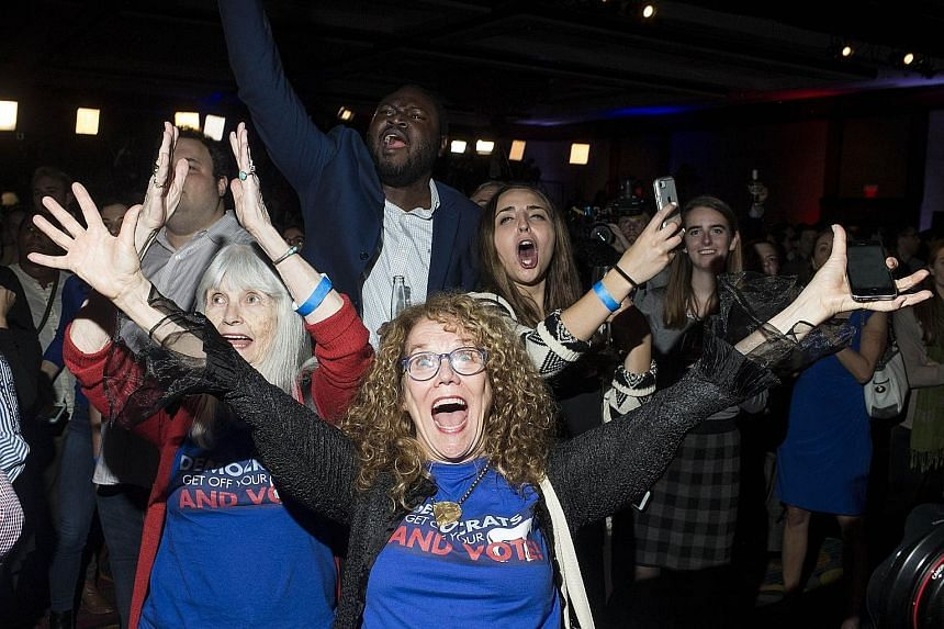 Democratic Party supporters cheering at an election watch party in Washington after news that the Democrats had gained control of the House of Representatives. Their majority enables them to block legislation and launch investigations into President