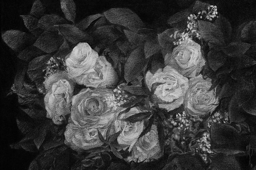Artist Yanyun Chen was inspired to start drawing flowers in charcoal after passing by a flower shop one day.