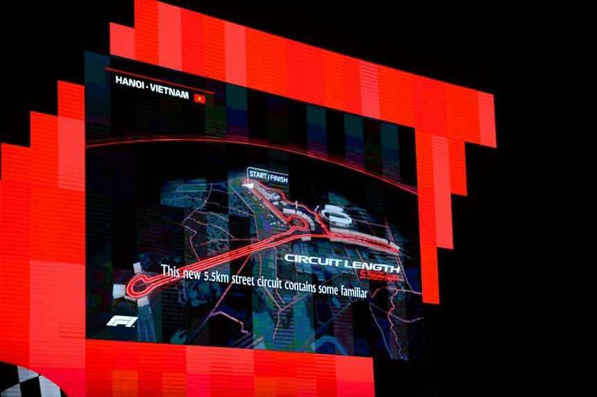 The map of the proposed circuit for the Vietnam Formula One Grand Prix is displayed on a screen during a ceremony in Hanoi on Nov 7, 2018.