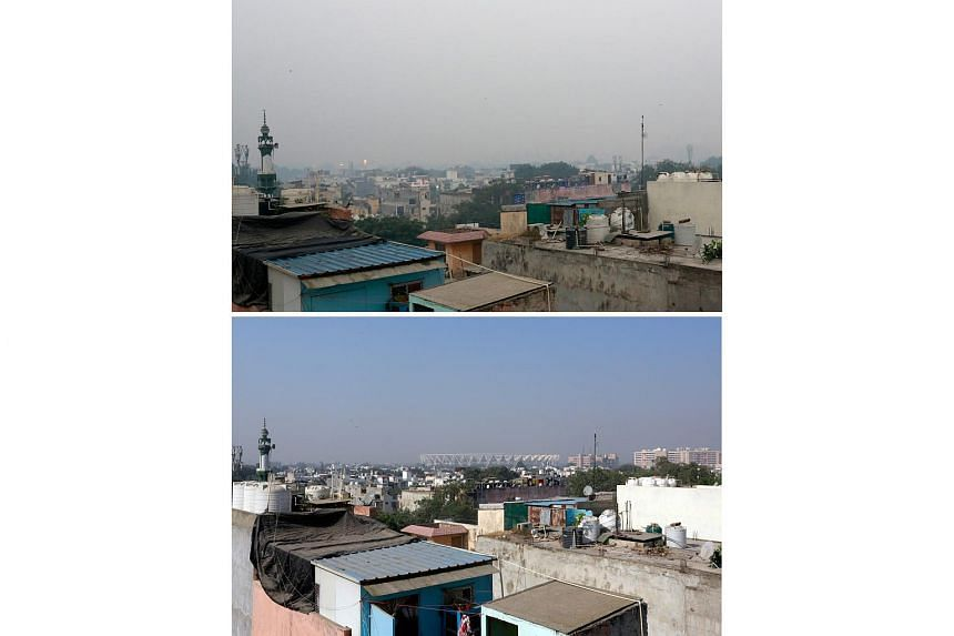 A combination picture shows the Jawaharlal Nehru stadium on a smoggy morning in New Delhi, India, on Nov 8, 2018 (top) and at the same place on Nov 7, 2018.