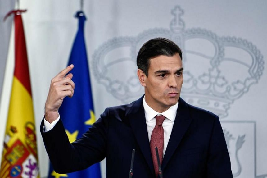 Spanish prime minister Pedro Sanchez at a press conference at La Moncloa palace to talk on the Supreme Court's decision to revoke a final judgement on mortgages loan expenses, in Madrid, on Nov 7, 2018.