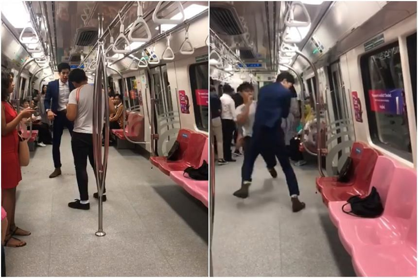 The video shows a person in a dark-coloured jacket trading blows with another person wearing a T-shirt in the last carriage of a train.