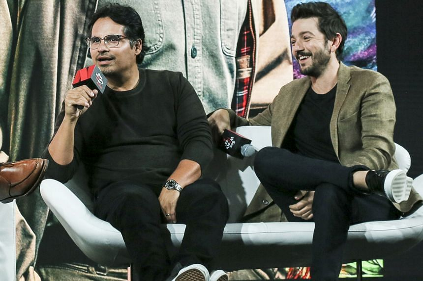 (From left) American actor Michael Pena and Mexican actor Diego Luna speaking about their upcoming show, Narcos: Mexico, which looks at a drug war in Mexico.