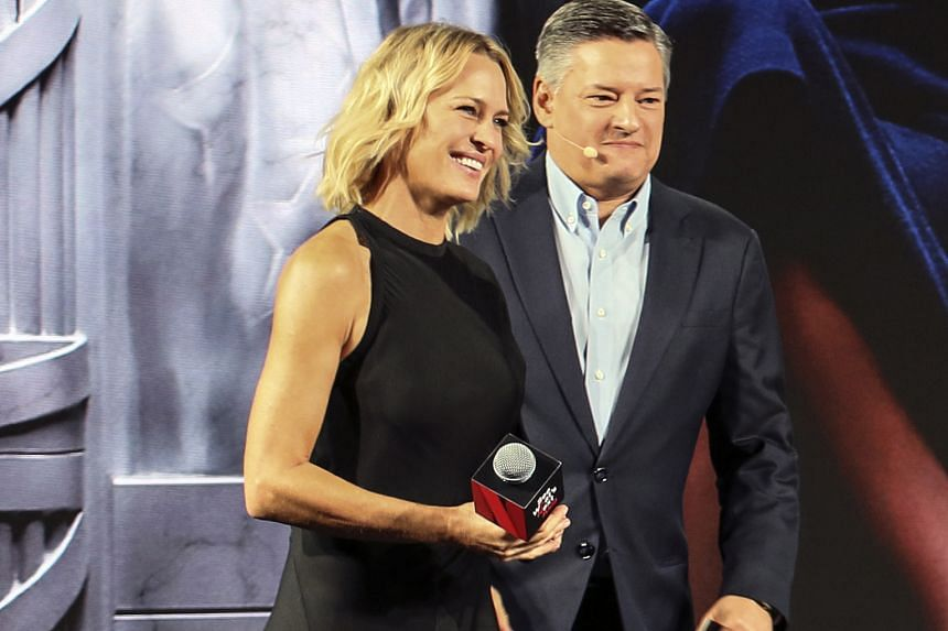Hollywood actress Robin Wright with Netflix chief content officer Ted Sarandos.