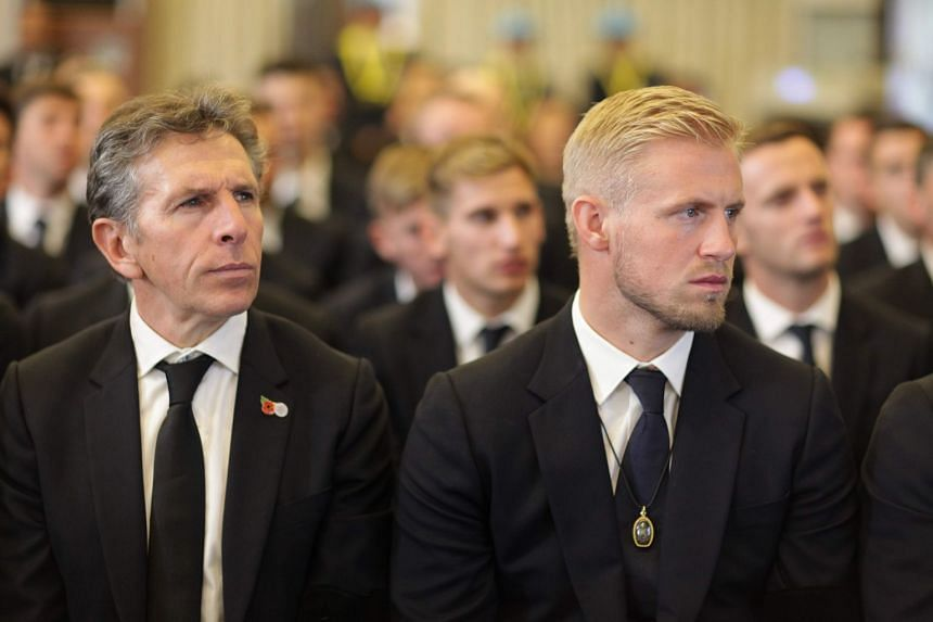 Puel (left) and goalkeeper Kasper Schmeichel at the funeral ceremony for  Vichai Srivaddhanaprabha in Bangkok.