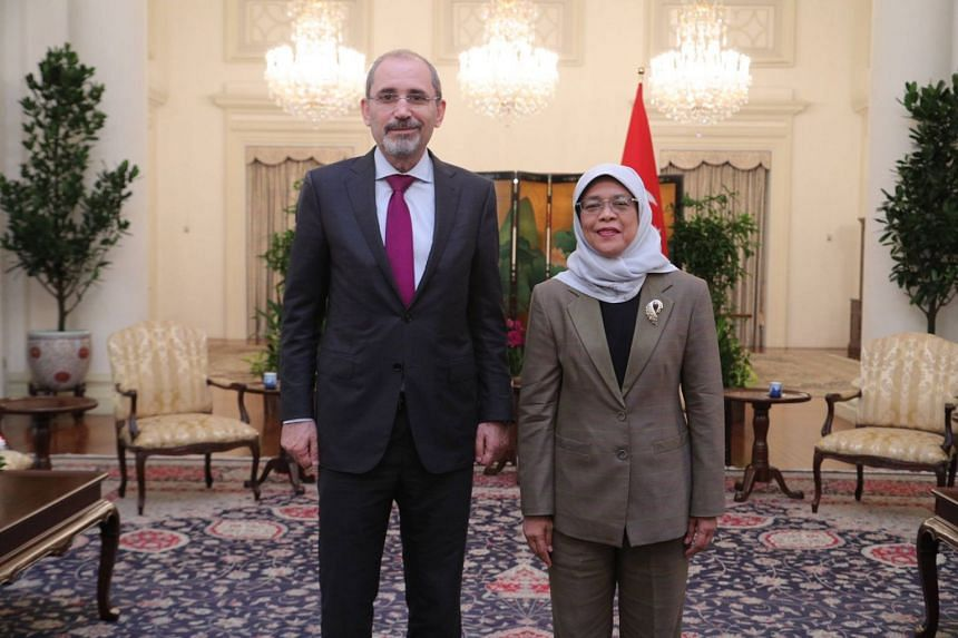 Jordan's Foreign Minister Ayman Safadi called on President Halimah Yacob at the Istana on Nov 8, 2018, during his two-day visit to Singapore.