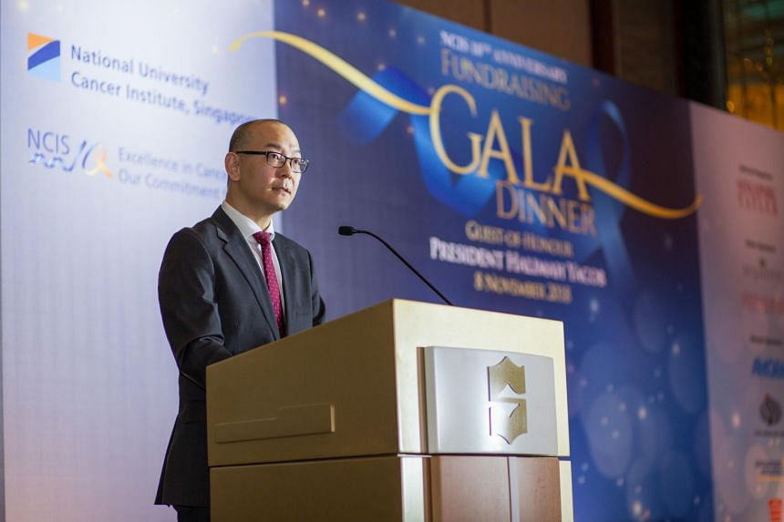 Professor Chng Wee Joo, director of the National University Cancer Institute, Singapore, making a speech at a fundraising gala dinner in Shangri-la Hotel, on Nov 8, 2018.