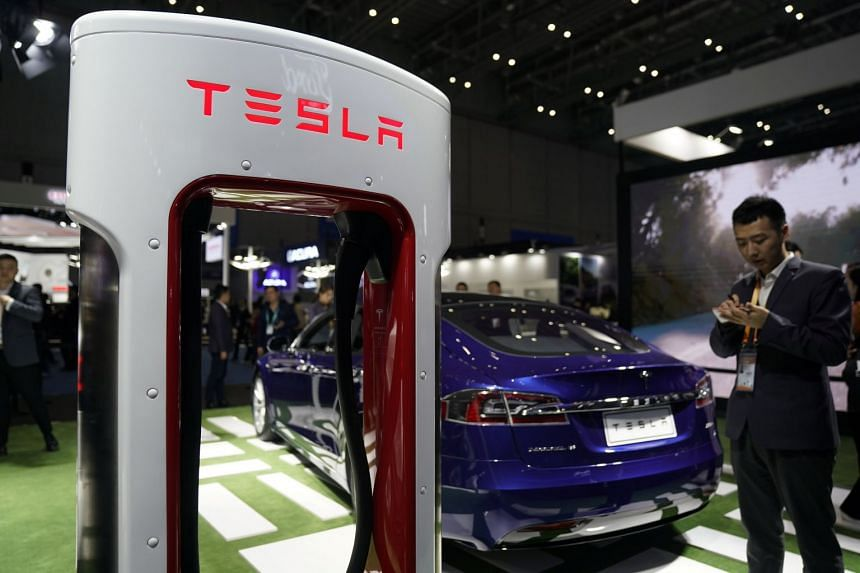 Tesla featuring at the China International Import Expo in Shanghai, Nov 6, 2018.