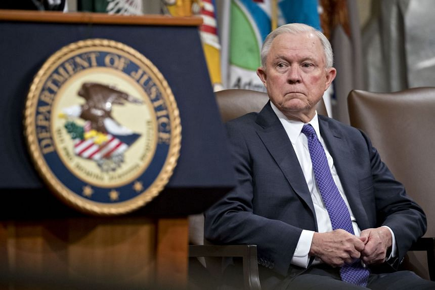 Jeff Sessions listening during an event on actions to combat the opioid crisis in the US.