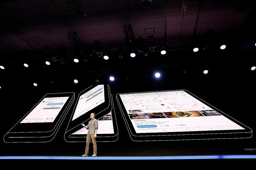 """Mr Glen Murphy, Google's head of Android UX, at the unveiling of Samsung's new """"Infinity Flex"""" foldable phone, during the Samsung Developers Conference in San Francisco on Wednesday. He said Google would work with developers to bring more features to"""