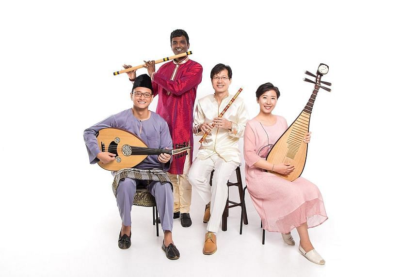 """Guest musicians (from far left) Ismahairie Putra and Raghavendran Rajasekaran, who play the gambus and venu, respectively, will engage in a """"cross-cultural musical conversation"""" with dizi musician Tan Chye Tiong and pipa musician Zhang Yin."""