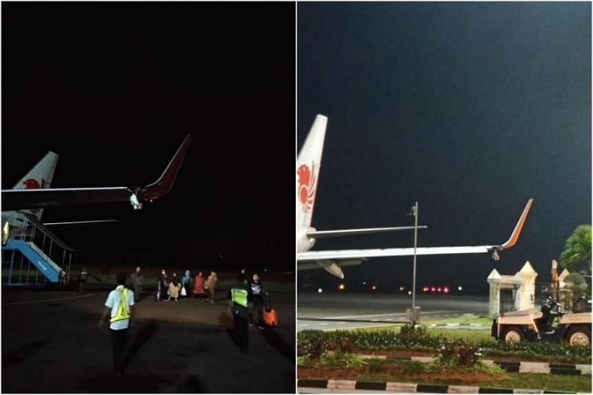 Flight JT633 was due to depart Fatmawati airport for Jakarta's Soekarno-Hatta International Airport at 6.20pm, when its left wing of the aircraft hit a pole in front of the airport's VIP building as it was moving off.