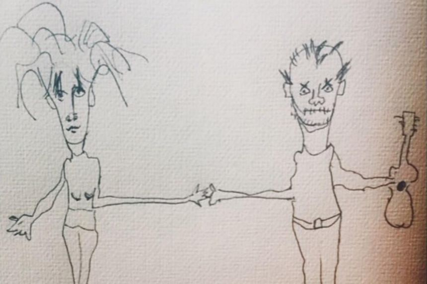 """Actress Meg Ryan posted a drawing of her and John Mellencamp holding hands with the caption """"ENGAGED!"""" on Instagram."""