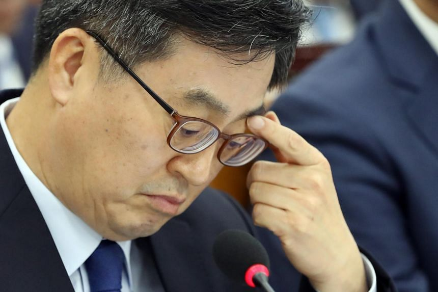 Finance Minister Kim Dong-yeon has served since June last year as President Moon's first top economic policy planner.
