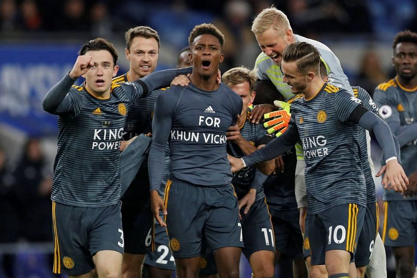 Leicester City players celebrate a goal by Demarai Gray (centre) during the English Premier League match against Cardiff City at Cardiff City Stadium on Nov 3, 2018.