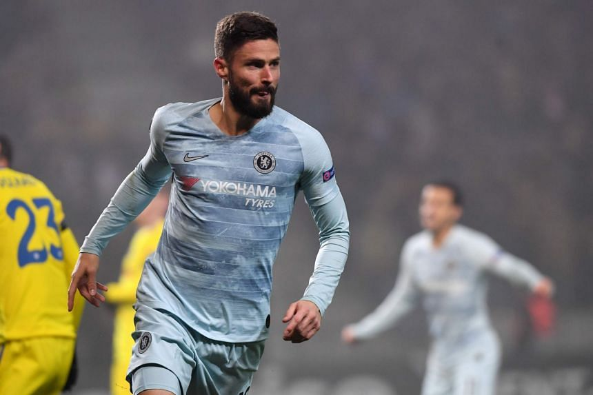 Chelsea's French striker Olivier Giroud celebrates after scoring.