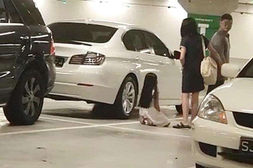In the video, the man is seen pointing his finger at the girl, then slapping her so hard that she almost loses her balance.