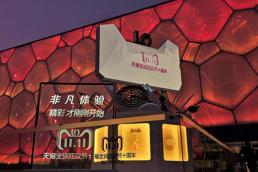 A Tmall installation marking the 10th anniversary of Alibaba's Singles Day global shopping festival outside the Beijing National Aquatics Center ahead of the Nov 11 festival, in Beijing, China, on Nov 1, 2018.