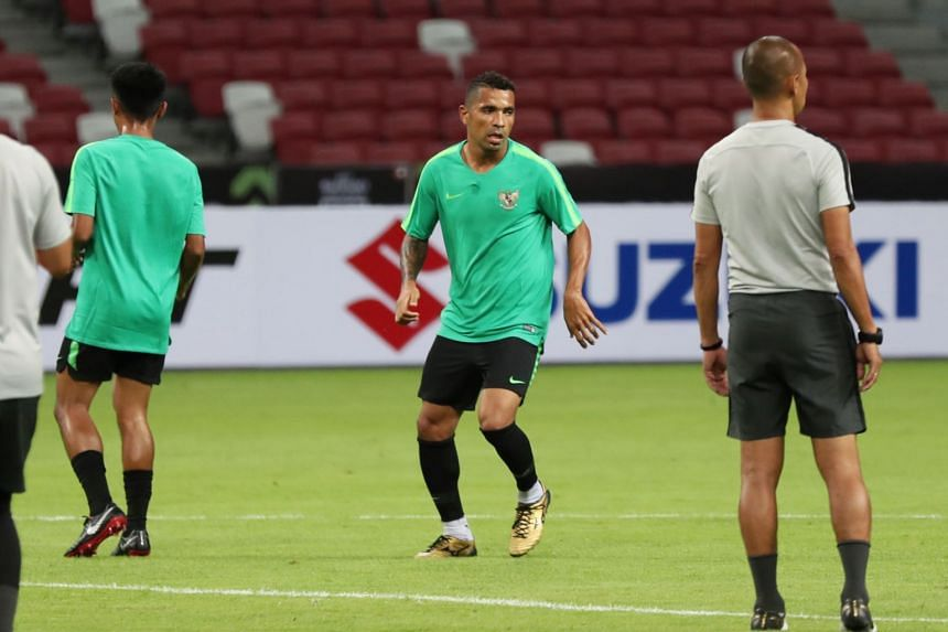 Indonesia national football teams player Beto Goncalves training at Singapore Sport Hub before their AFF Suzuki Cup game against Singapore, on Nov 9,2018.