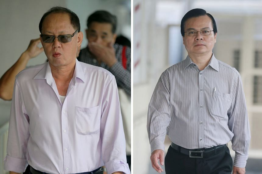 Company director Chia Sin Lan (far left) told investigators the incoming funds listed in a ledger of expenses came from the sale of scrap metal. But his business partner testified that there are other sources. Chia and former town council general man