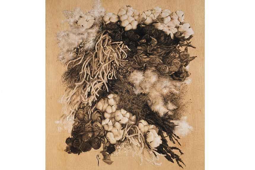 Charcoal drawings of flowers by artist Yanyun Chen
