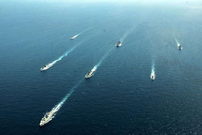 File photo of RSN and IN ships sailing in formation in 2017. This year's Simbex will feature about 30 participating air, sea and underwater assets from the Republic of Singapore Navy and the Indian Navy.