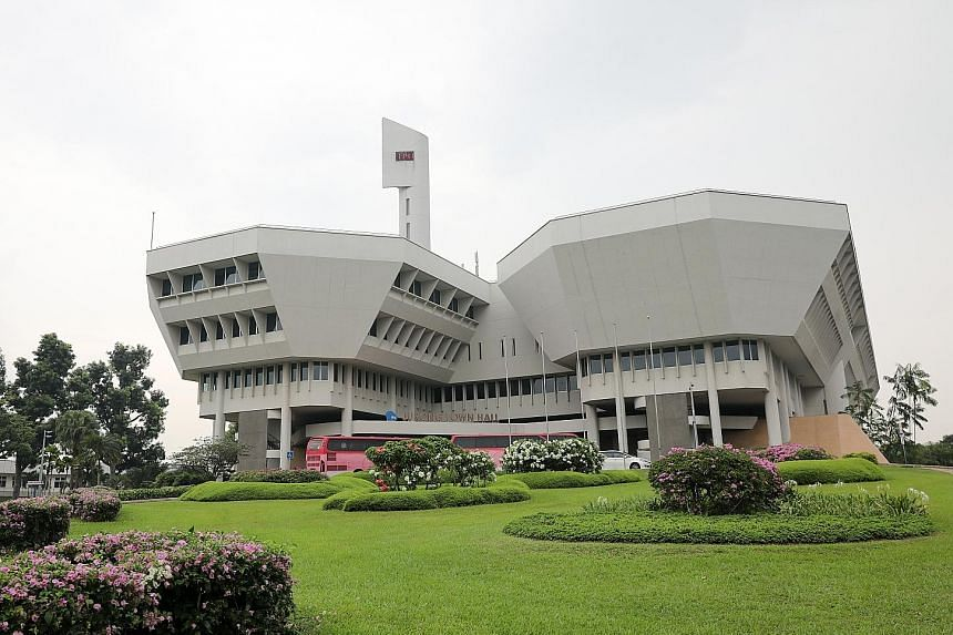 The restoration works at Jurong Town Hall (above) include recovering the period appearance of its main entrance and its original atrium staircase.