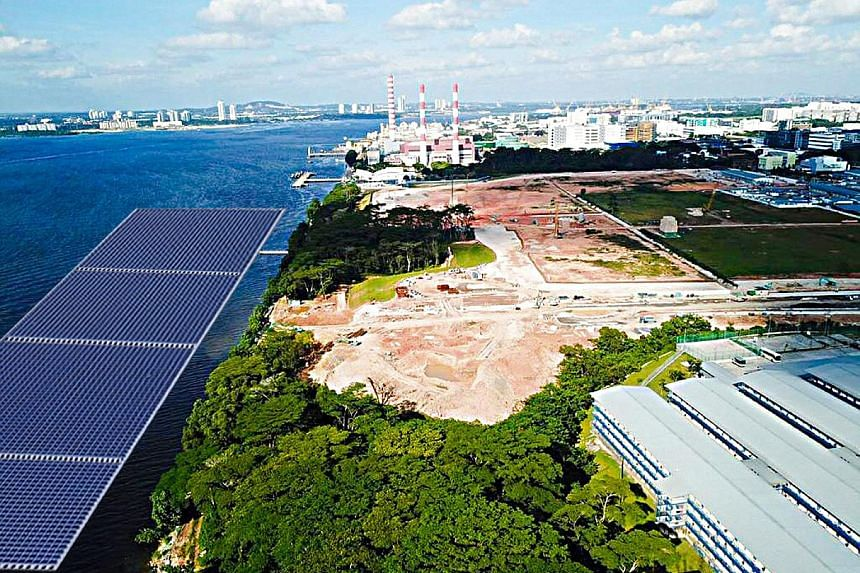 An artist's impression of the offshore floating photovoltaic system to be located north of Woodlands Waterfront Park. The system is expected to cut greenhouse gas emissions by about 2,600 tonnes per year.