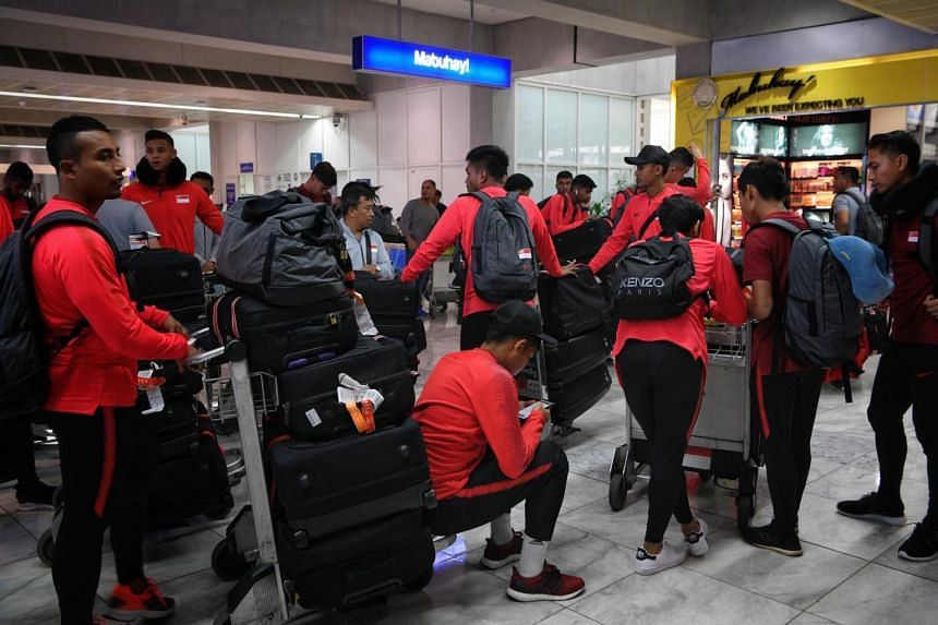 The Singaporean National Football team at Manila Airport, en route to Bacolod City ahead of their Asean Football Federation Suzuki Cup match against the Philippines, on Nov 10, 2018.