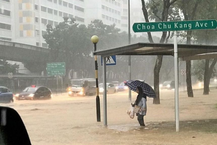Several parts of Singapore, including Choa Chu Kang, experienced flash floods after intense rain on Nov 10, 2018.