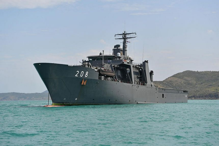 The RSS Resolution is among the supporting assets from the Singapore navy and air force in Exercise Trident.