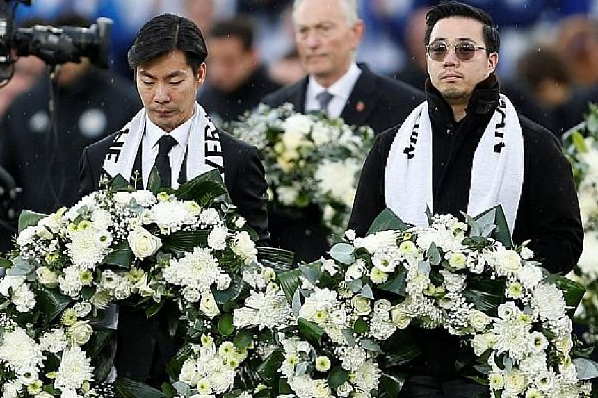 From above: Leicester players in their tribute jersey and the Burnley team observing two minutes of silence for the Foxes' late chairman Vichai and Remembrance Day. His sons, club vice-chairman Aiyawatt and executive director Apichet, with wreaths. E