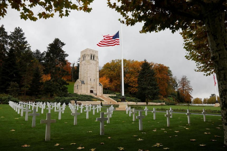 The American flag flies at the Aisne-Marne American Cemetery dedicated to the US soldiers killed in the Belleau Wood battle during World War One at Belleau, France, on Nov 10, 2018.