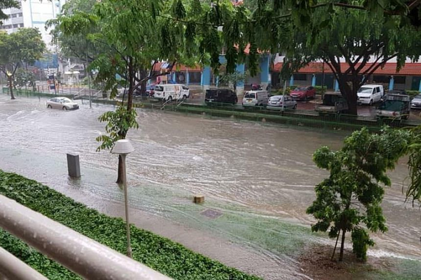 A photo of a flooded street in Geylang taken on Nov 11, 2018. Flooding occurred across various parts of the island as a result of heavy downpours.