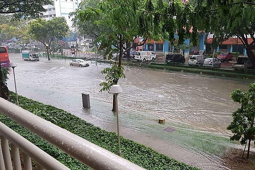 Flash floods affected several parts of Singapore yesterday afternoon. The first two weeks of this month are expected to be wetter than the previous fortnight.