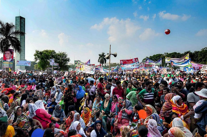 Bangladesh Nationalist Party (BNP) leaders and supporters at a rally in Dhaka on Sept 30, 2018. The BNP had protested the Dec 23, 2018, election date, saying more time was needed to prepare for the poll.