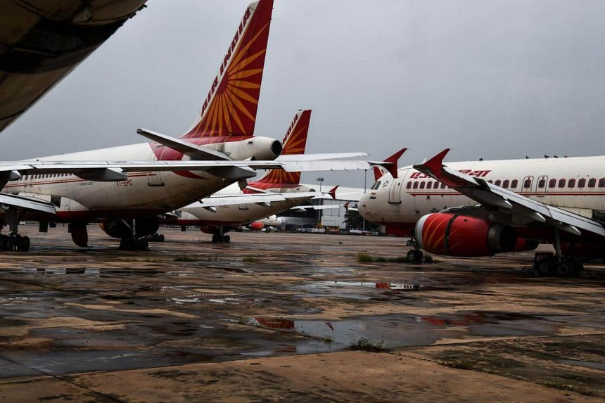 Air India planes in the tarmac at the Indira Gandhi International Airport in New Delhi, on Sept 1, 2018.