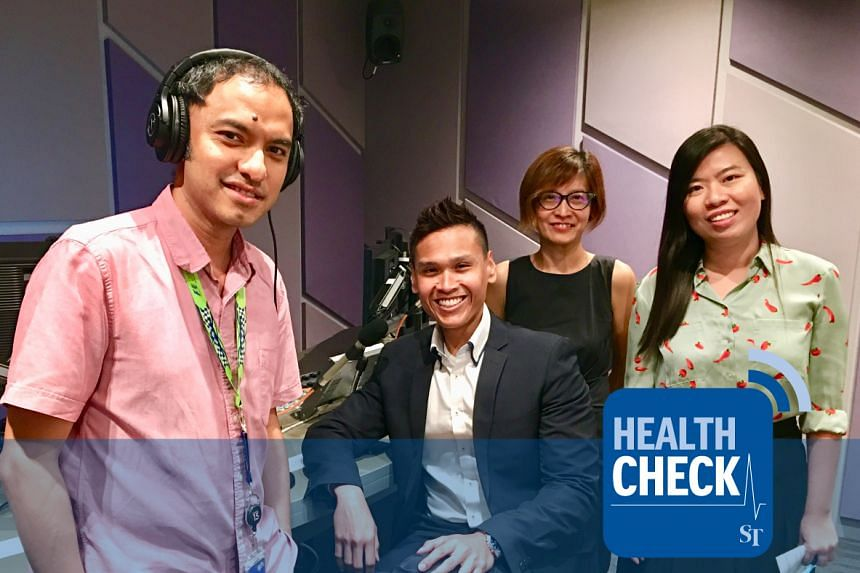 Dr Fadzil Hamzah, a senior staff registrar at Changi General Hospital's Changi Sports Medicine Centre (second from left), discusses exercise tips for newly diagnosed diabetics with Health Check podcast hosts Ernest Luis (extreme left), Joyce Teo (sec