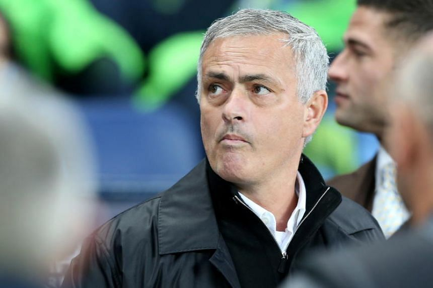 Manchester United's manager Jose Mourinho during the EPL match between Manchester City and Manchester United at the Etihad Stadium in Manchester, Britain, on Nov 11, 2018.
