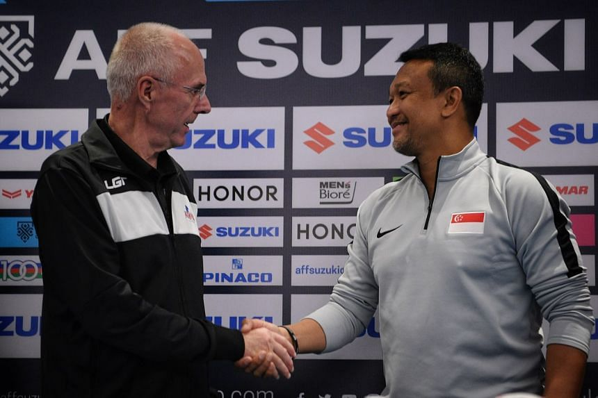 Philippines national football coach Sven-Goran Eriksson with Lions coach Fandi Ahmad at their pre-match press conference in Bacolod, the Philippines, on Nov 12, 2018.