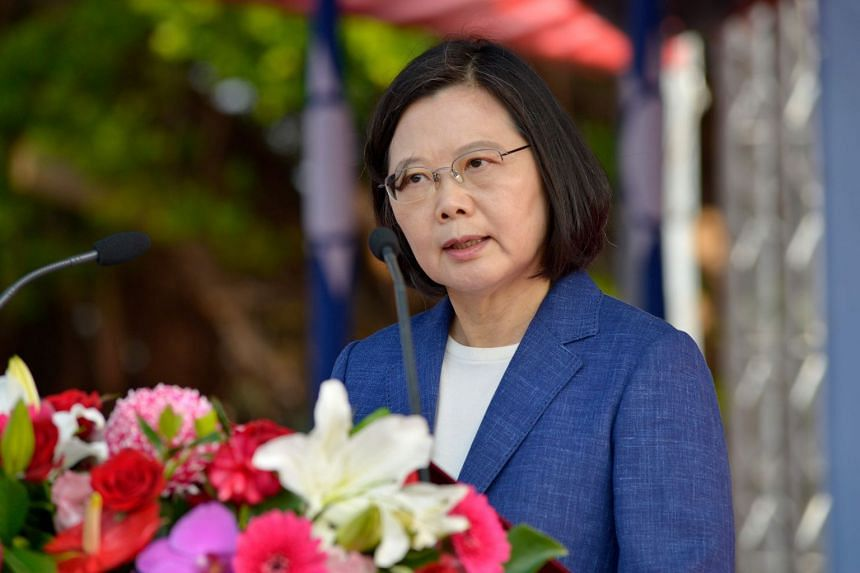 Taiwan's President Tsai Ing-wen in the southern port of Kaohsiung on Nov 8, 2018. President Tsai is battling criticism over domestic reforms and concerns over relations with China.