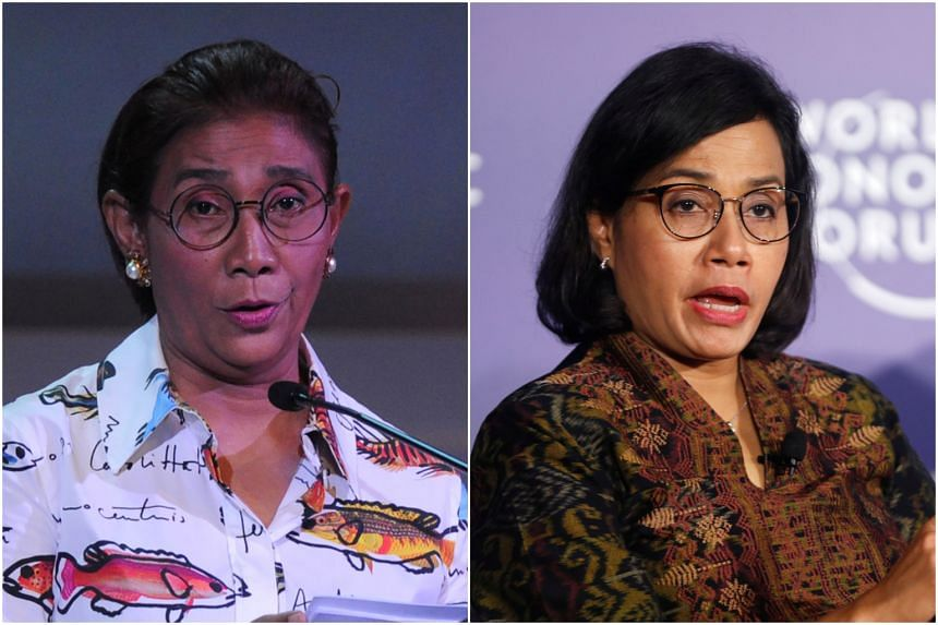 Indonesia's Maritime Affairs and Fisheries Minister Susi Pudjiastuti (left) and Finance Minister Sri Mulyani Indrawati (right) have built their tough public personae to be able to run their respective ministries.