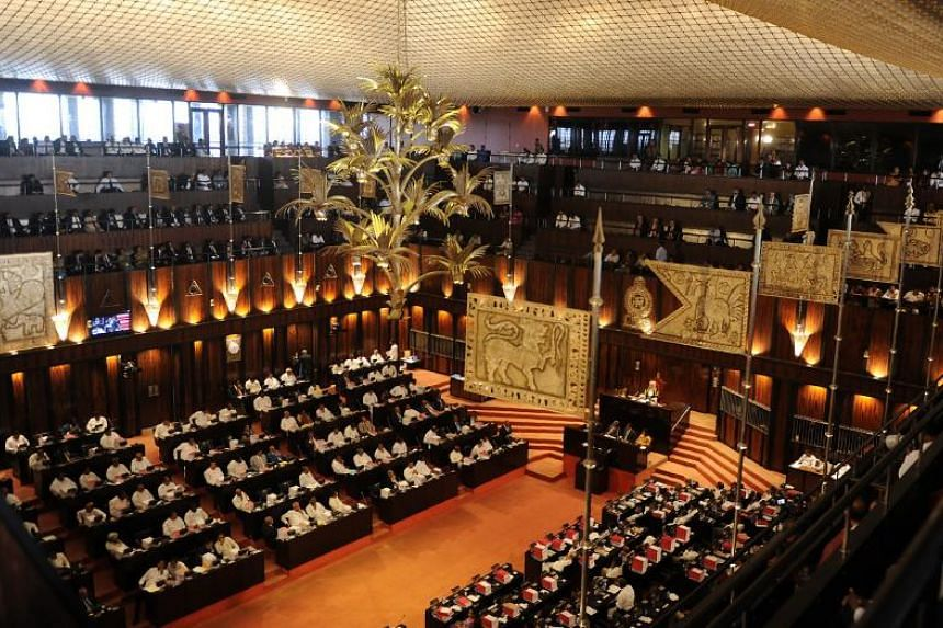 A file photo taken on Nov 9, 2017, shows Sri Lanka's budget presentation taking place in the national parliament building in Colombo. Sri Lankan President Maithripala Sirisena dissolved parliament on Nov 9, 2018, five days before it was due to reconv