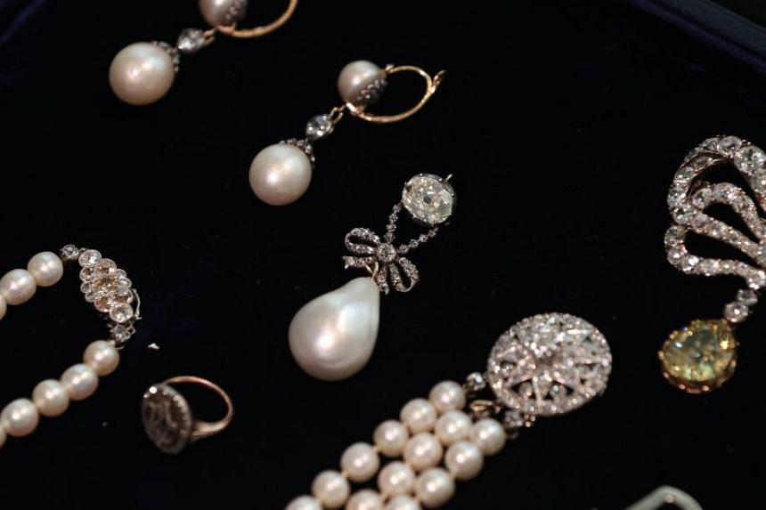 Queen Marie Antoinette's Pearl is pictured among other jewellery during a photo call at Sotheby's auction house in London, on Oct 19, 2018.