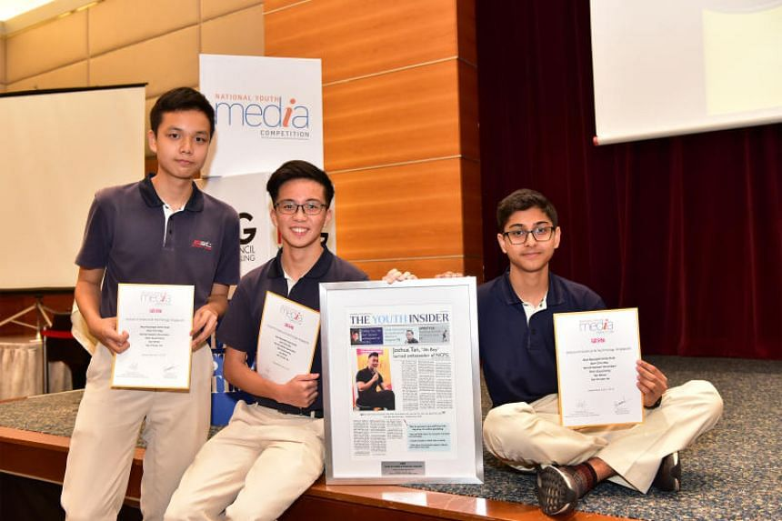 School of Science and Technology, Singapore students (from left) Shen Guocheng, Tan Chuan Jie and Kamal Sawlani Govindani from the winning team of the National Youth Media Competition.